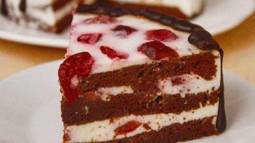 Творожный торт-суфле с вишней, простой и очень вкусный